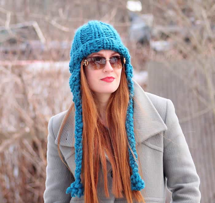 Cobbles Ear Flap Hat Knitting Pattern - Gina Michele