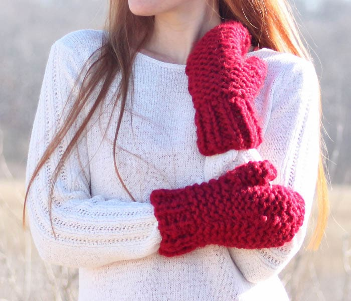 Easy Chunky Mittens Knitting Pattern Gina Michele