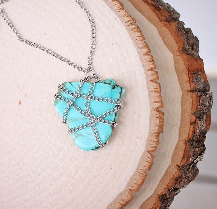 DIY Chain Wrapped Stone Necklace