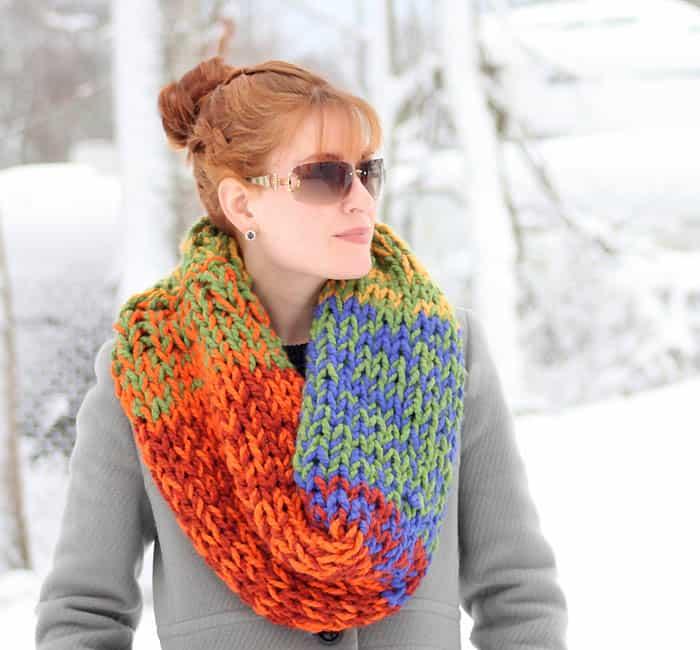 Double Layered Chunky Cowl Knitting Pattern Gina Michele