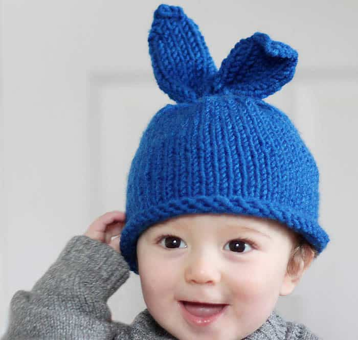 Baby Bunny Hat Knitting Pattern - Gina Michele
