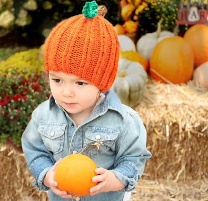 DIY Toddler Pumpkin Hat [knitting pattern]