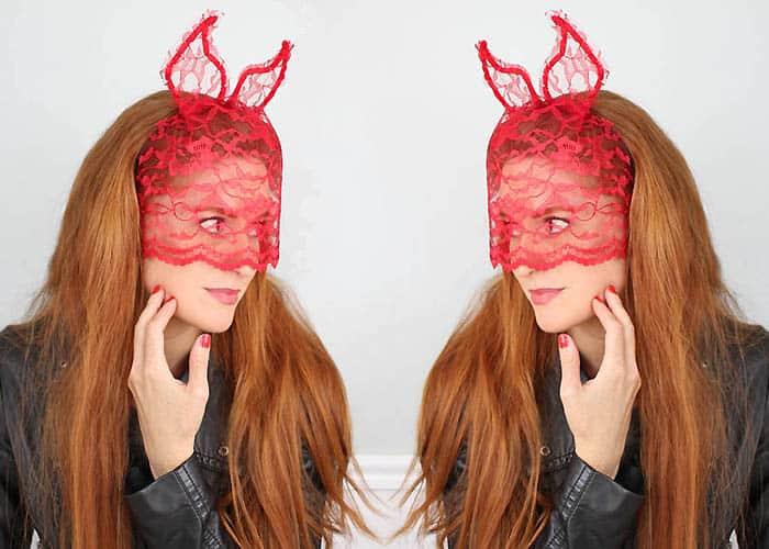 DIY Halloween Devil Horns with Veil