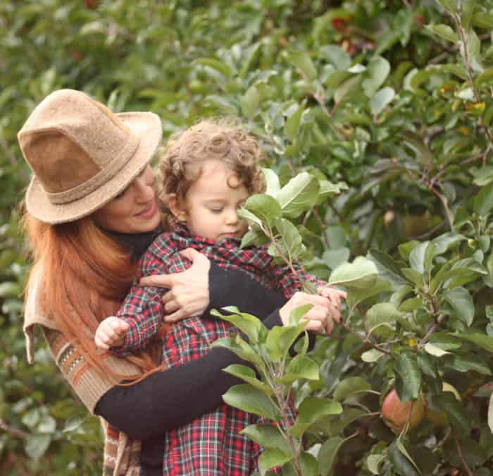 Apple Picking Mom and baby