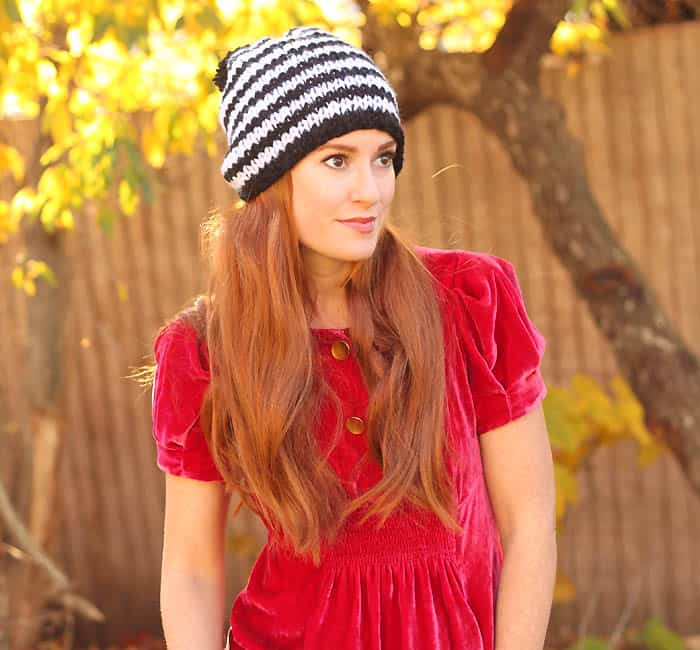 Kate Spade Chunky Stripe Beanie Freee Knitting Pattern