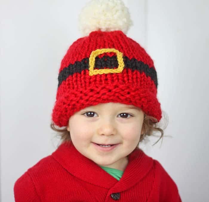 Santas Belt Buckle Hat Baby Knitting Pattern Gina Michele