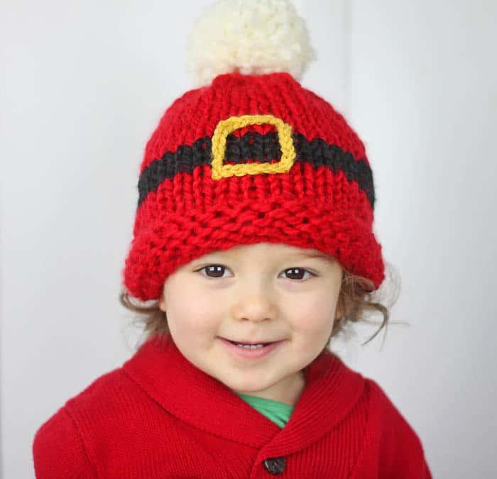 Santa\'s Belt Buckle Hat Baby Knitting Pattern - Gina Michele