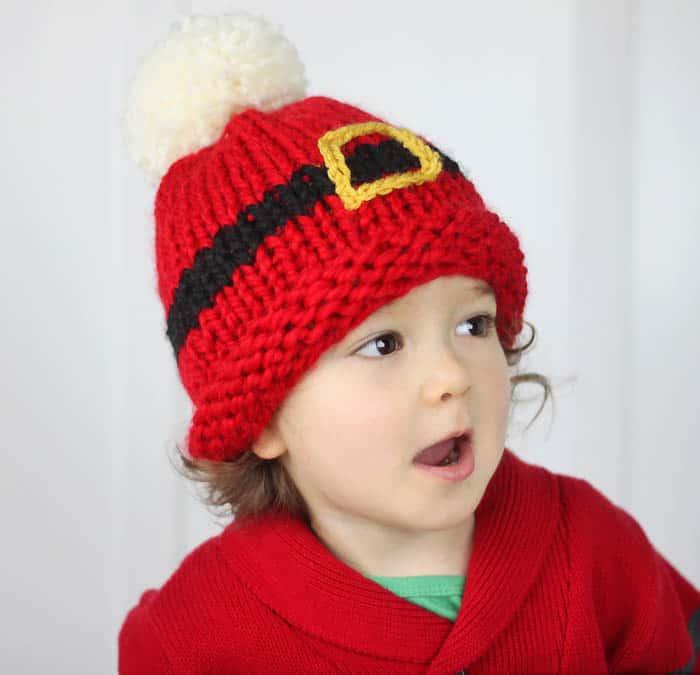 Santa's Belt Buckle Hat Baby Free Knitting Pattern