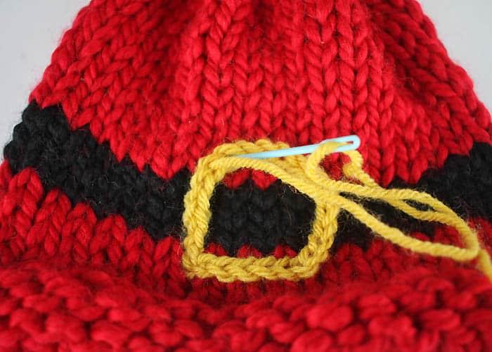 Santas Belt Buckle Hat Baby Knitting Pattern Gina Michele