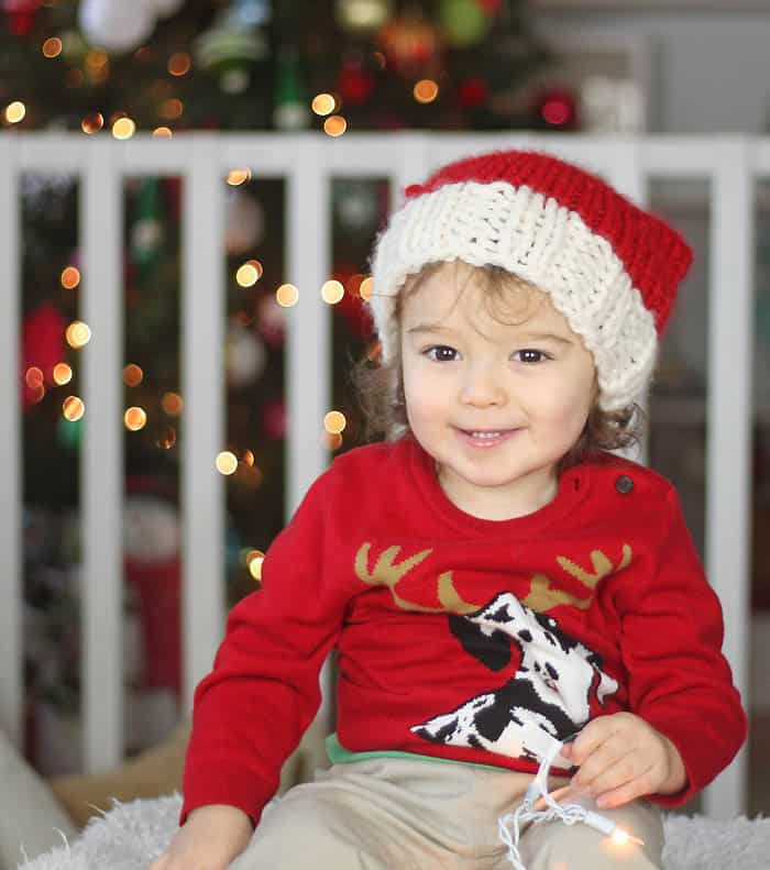 Free Santa Hat Knitting Pattern by blogger Gina Michele