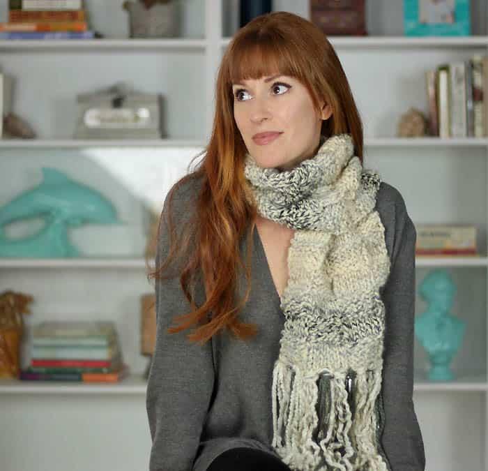 Basketweave Scarf Free Knitting Pattern by blogger Gina Michele