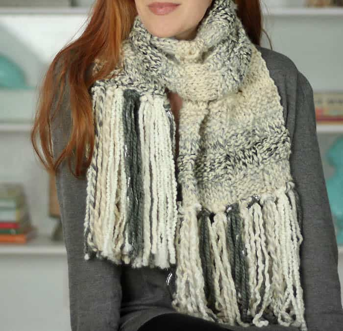 Basketweave Scarf Free Knitting Pattern by blogger Gina Michele