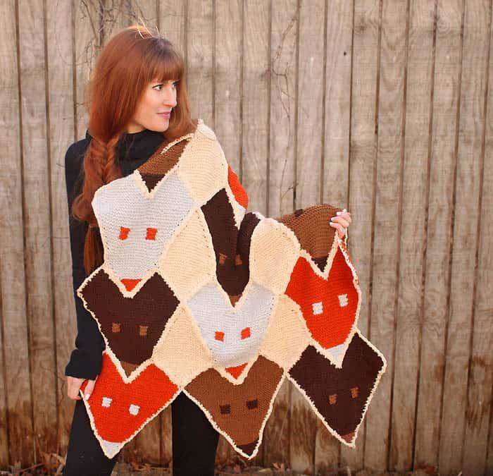 Fox Baby Blanket Free Knitting Pattern