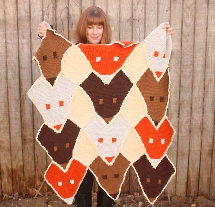 Fox Baby Blanket Free Knitting Pattern