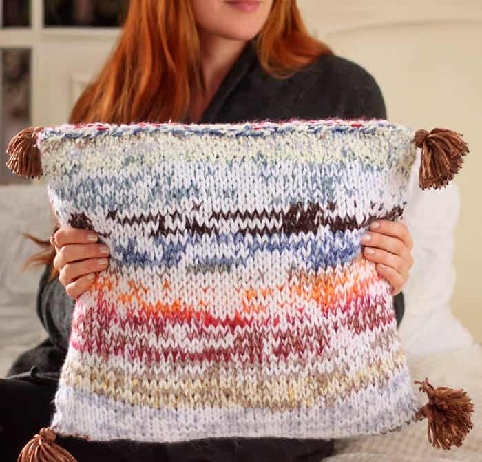 Scrap Busting Tassel Pillow Knitting Pattern Gina Michele