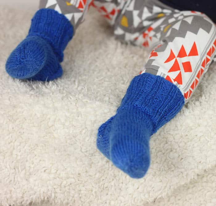 Ribbed Toddler Socks Free Knitting Pattern by Gina Michele