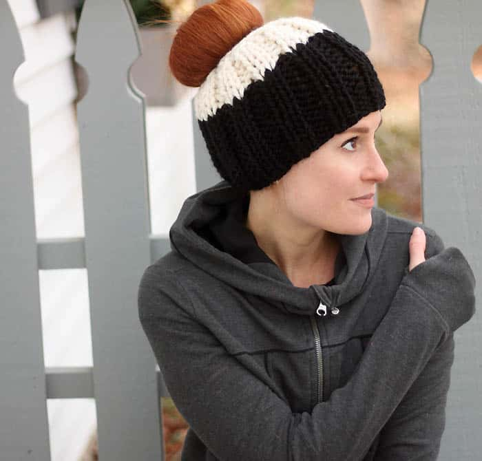 Messy Bun Hat Knitting Pattern - Gina Michele 806ad073795