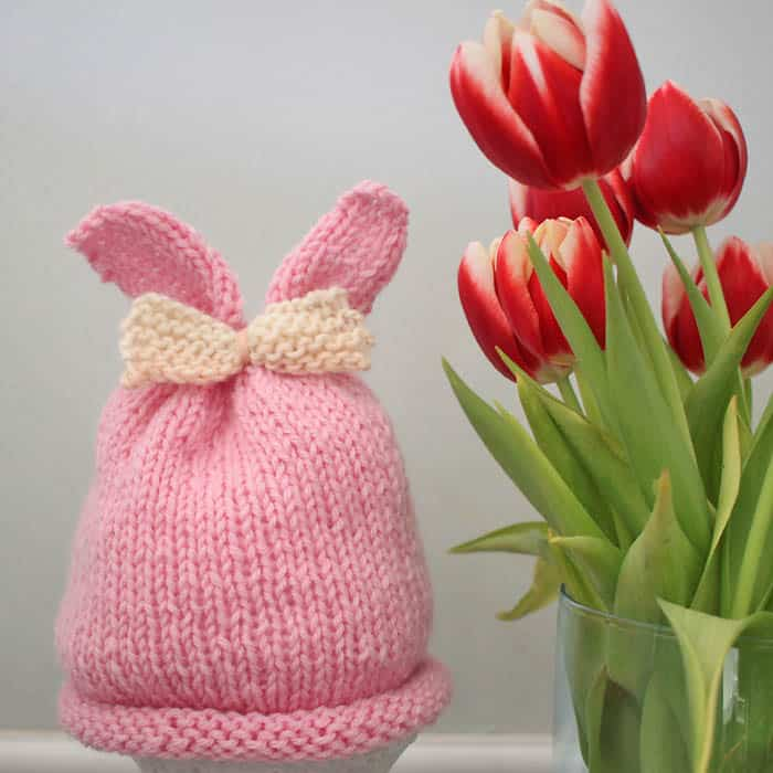 Baby Girl Bunny Ear Hat Knitting Pattern Gina Michele