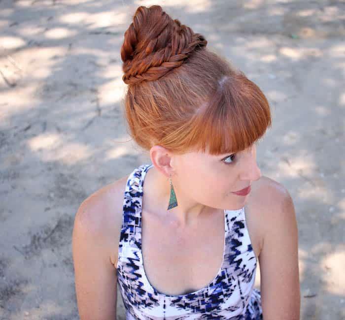Easy Hairstyles for Long Hair- Fishtail Bun
