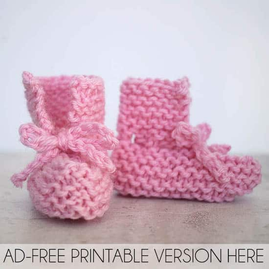 Easy Tie Front Baby Booties Knitting Pattern Gina Michele