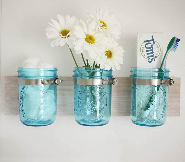 Coastal Mason Jar Organizer DIY by Gina Michele