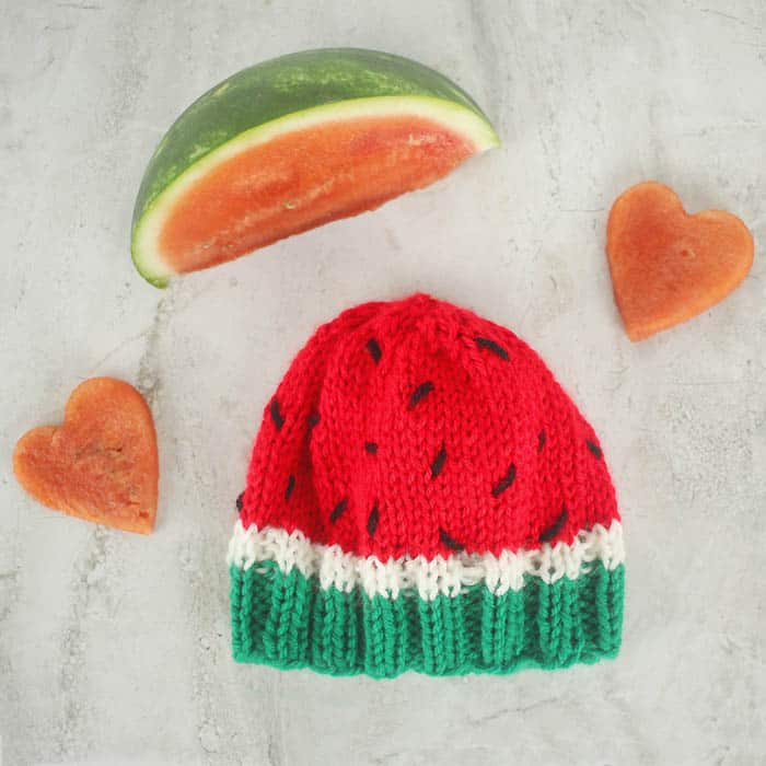 Baby Watermelon Hat Free Knitting Pattern