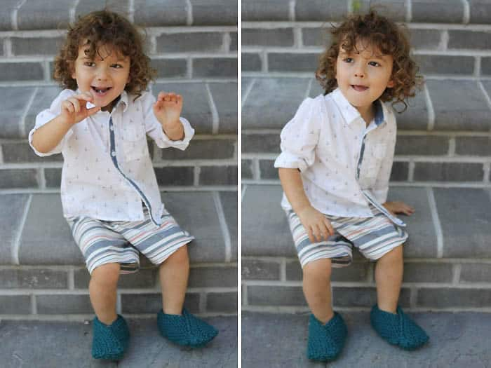 Easy Flat Knit Toddler Slippers Knitting Pattern by Gina Michele