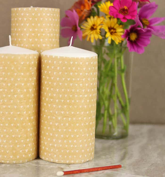 Tissue Paper Transfer Candles DIY