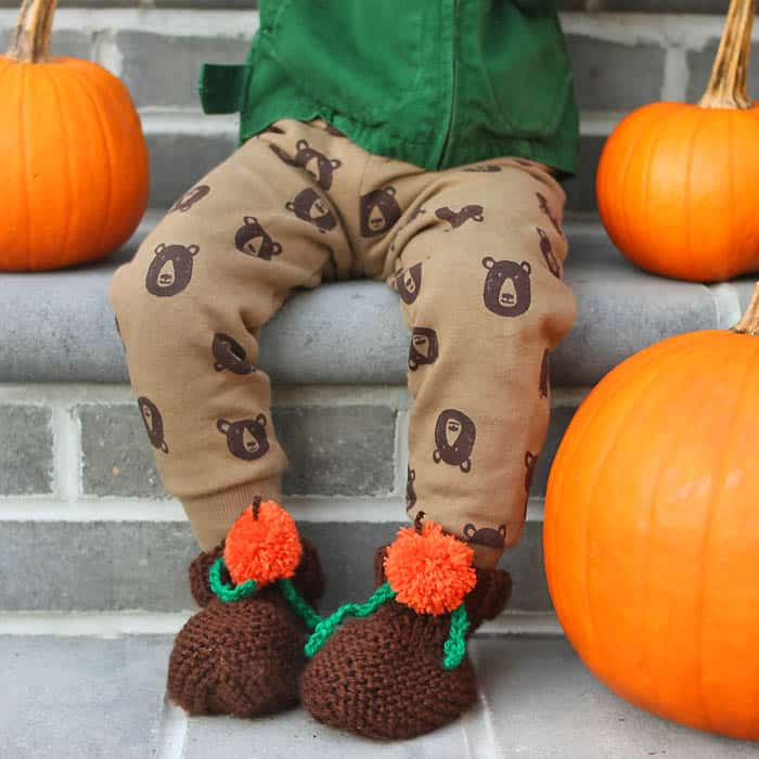 EASY Pumpkin Baby & Toddler Booties Free Knitting Pattern