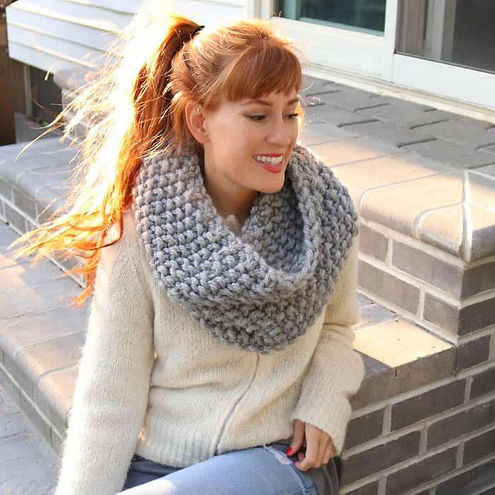Seed Stitch Cowl Free Knitting Pattern - Gina Michele