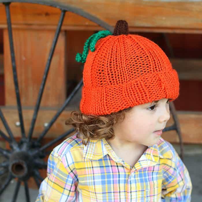 Toddler Kids Pumpkin Hat Free Knitting Pattern Gina Michele
