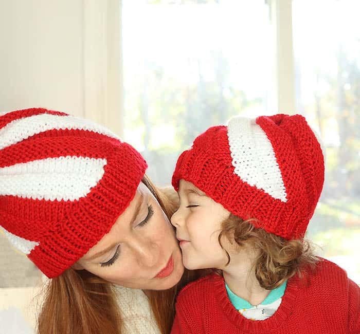 Candy Cane Hat Free Knitting Pattern by Gina MIchele