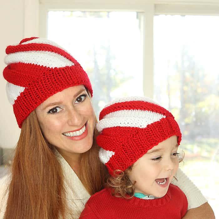 Candy Cane Hat Free Knitting Pattern by Gina MIchele