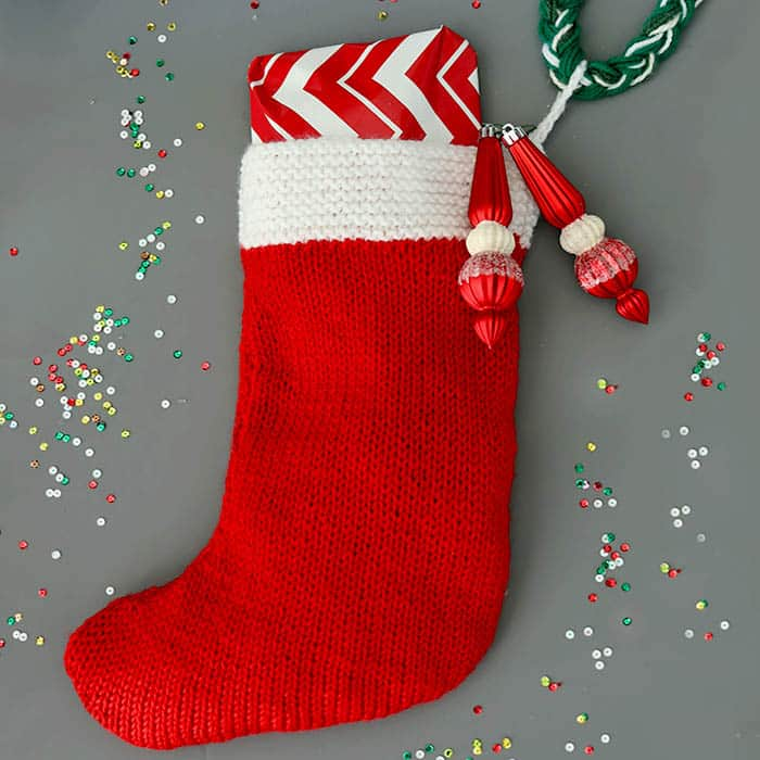 Flat Knit Christmas Stocking Knitting Pattern