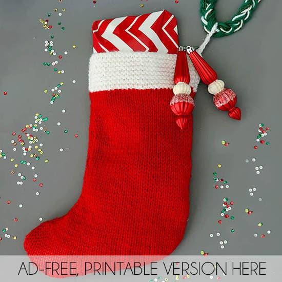 photo relating to Free Printable Christmas Stocking Pattern known as Flat Knit Xmas Stocking Knitting Practice - Gina Michele