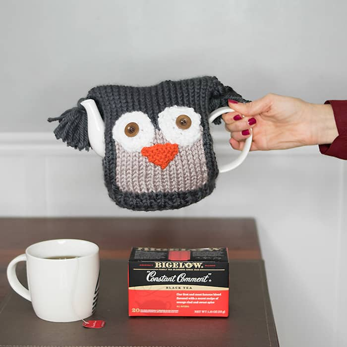 Owl Teapot Cosy Knitting Pattern & Tea Proudly with Bigelow
