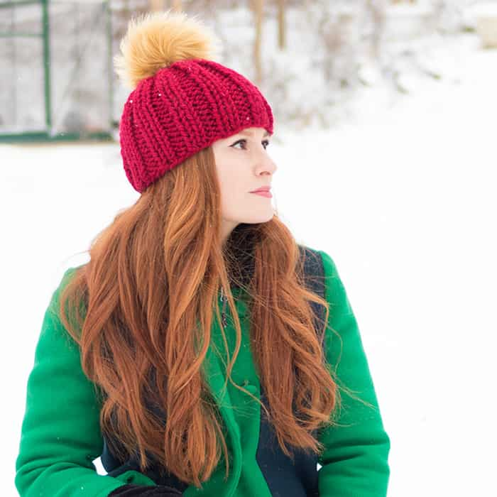 Thick & Quick Beanie Free Knitting Pattern