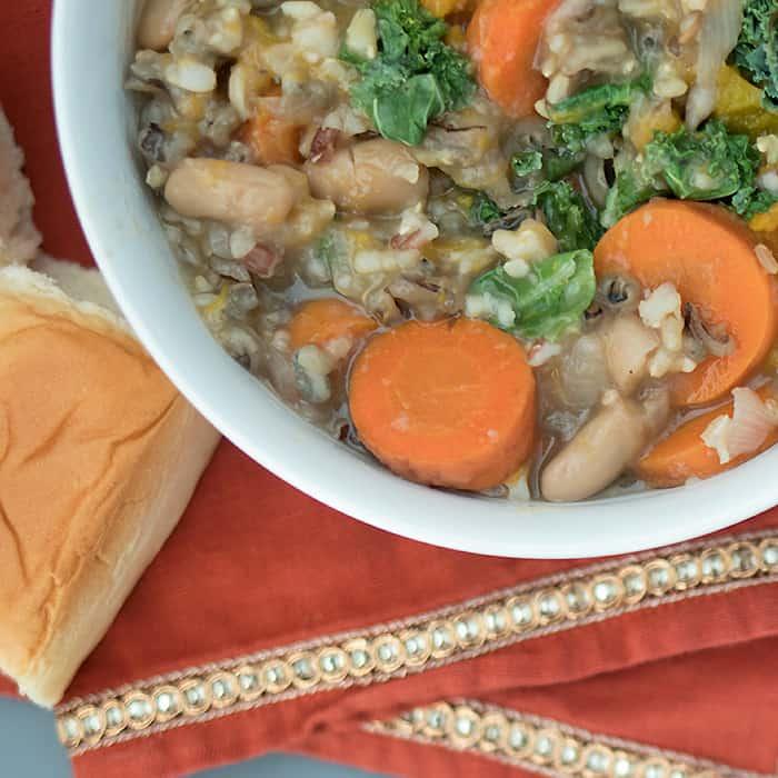 Slow Cooker Vegan Wild Rice Veggie Soup