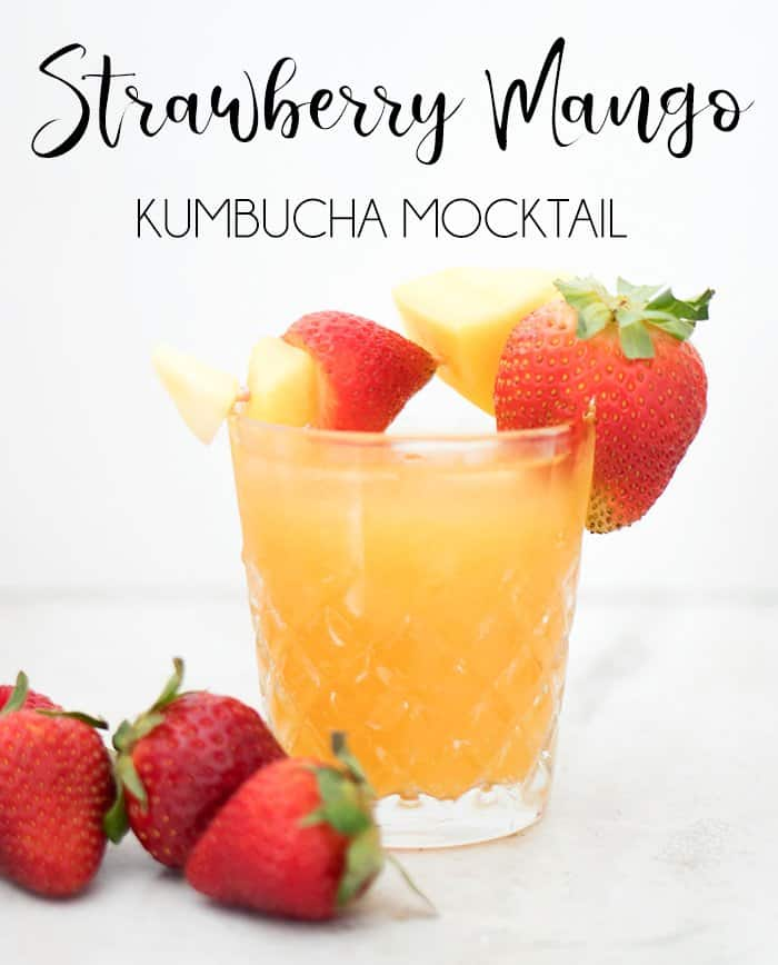 Strawberry Mango Kumbucha Mocktail