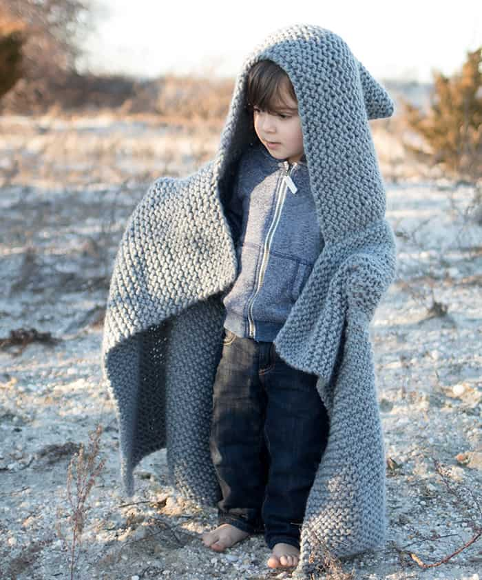 Hooded Baby Blanket Knitting Pattern