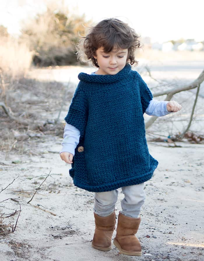 Easy Kids Poncho Knitting Pattern - Gina Michele