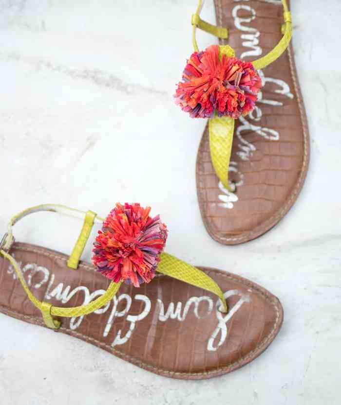 Raffia Pom Sandals DIY