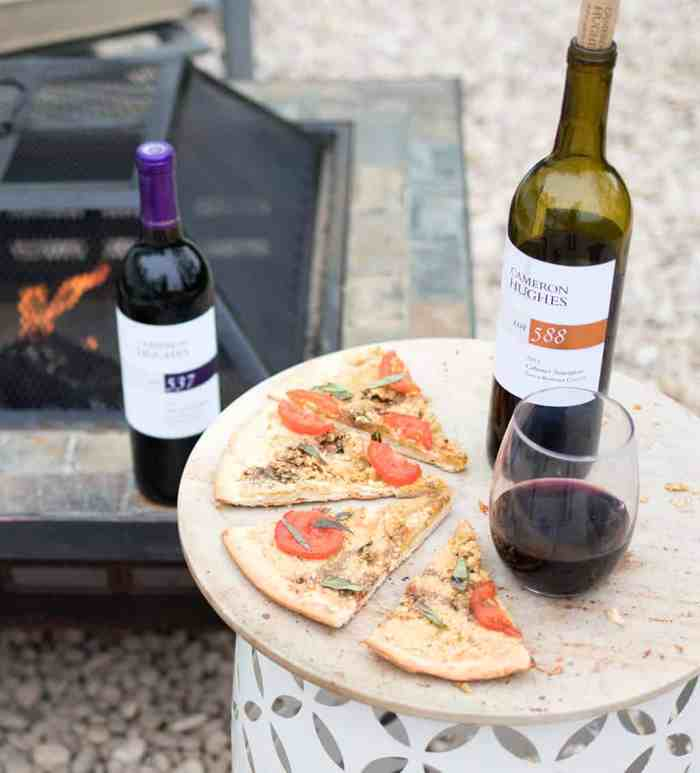 Vegan Caprese Pizza and Cameron Hughes Wine by Gina Michele