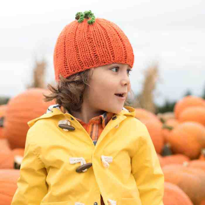 Kid's Pumpkin Hat Knitting Pattern