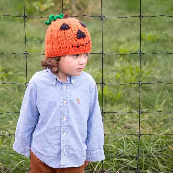 Jack-O-Lantern Hat Knitting Pattern
