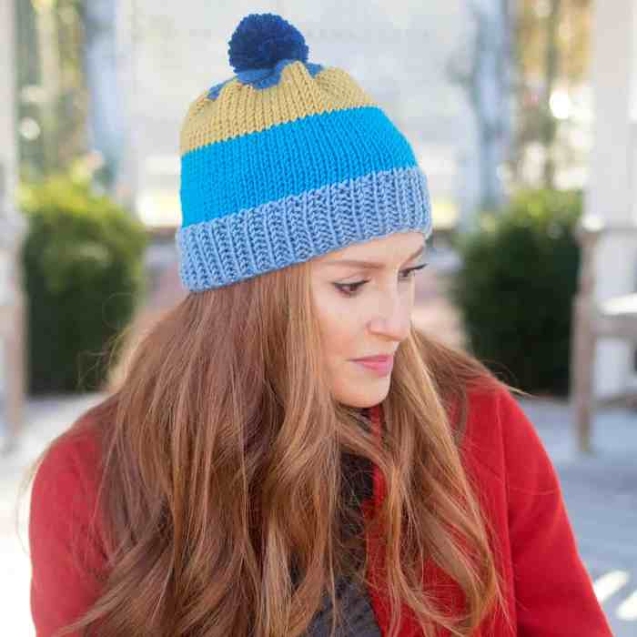 Caron X Pantone Stripe Hat Knitting Pattern