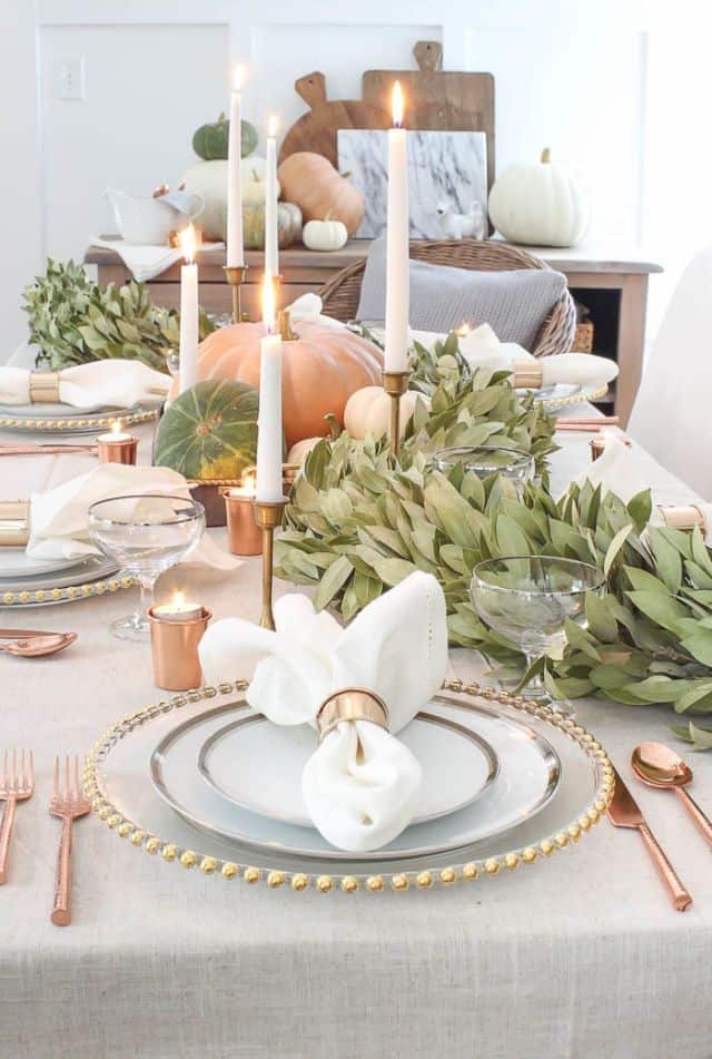 Copper Thanksgiving Table Setting