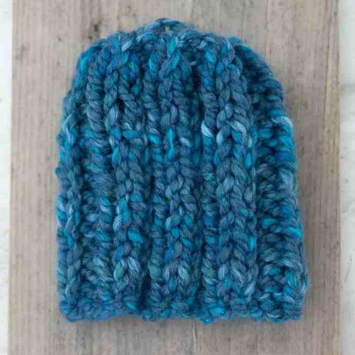Flat Knit Newborn Hat by knitting blog Gina Michele