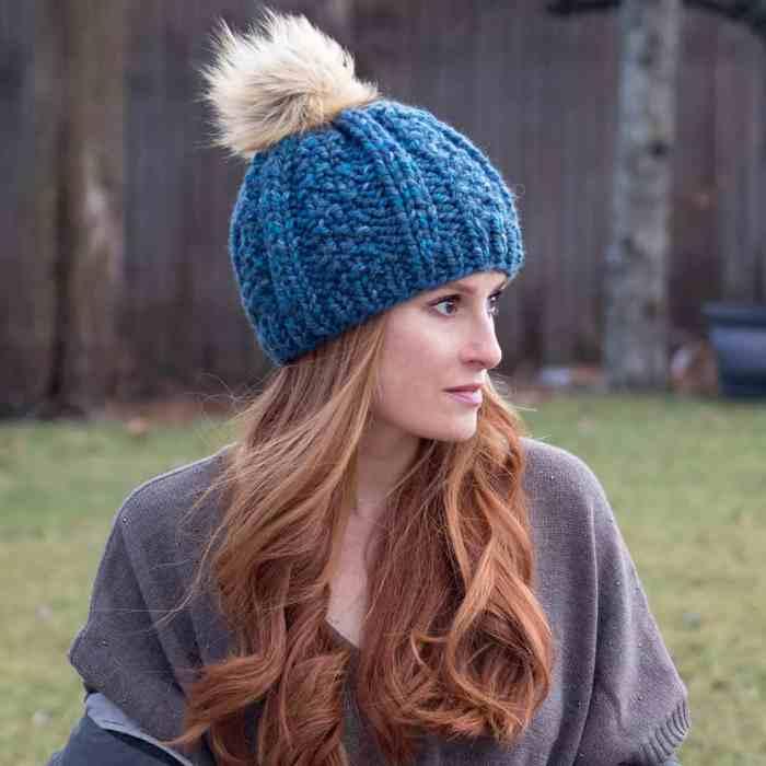 Wide Rib Hat Knitting Pattern