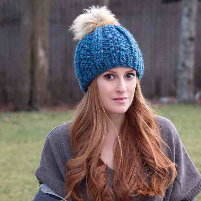 Wide Rib Hat Knitting Pattern by Gina Michele